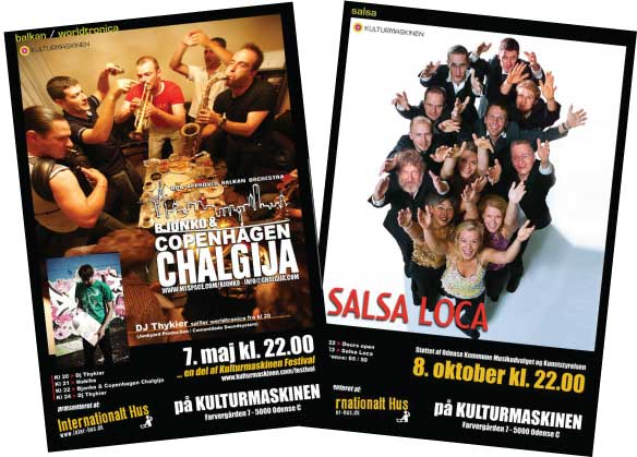 Posters and Website Design for the Internationalt Hus, Odense Denmark. Cultural Center presenting World Music and Culture